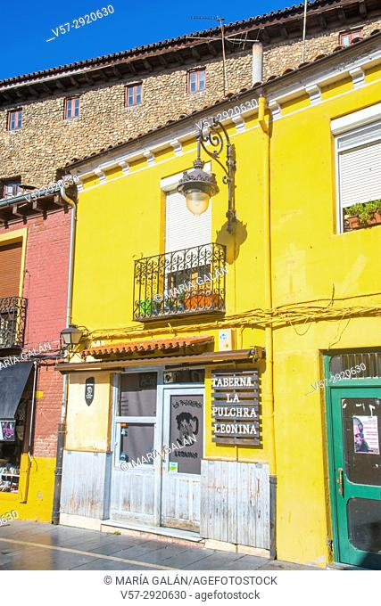 Facade of traditional tavern. Leon, Spain