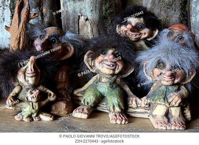 Norwegian trolls souvenirs for sale in a gift shop, Norway, Europe