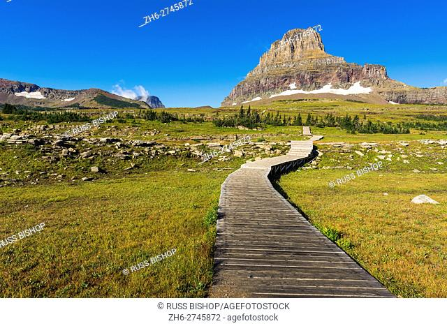 Hidden Lake Trail at Logan Pass under Clements Mountain, Glacier National Park, Montana USA