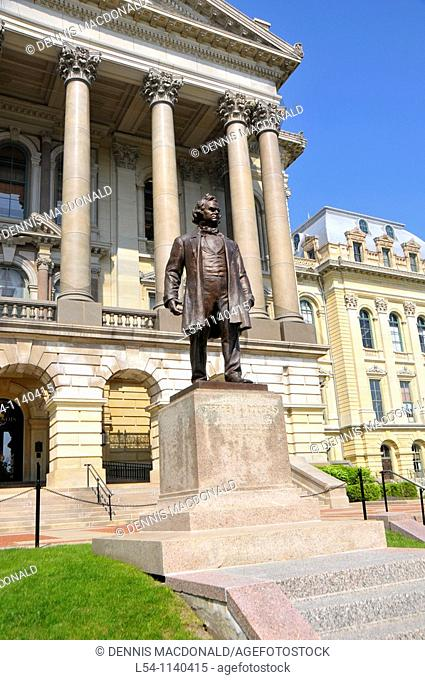 Stephen Douglas Statue in front of Illinois State Capitol Building Springfield Illinois