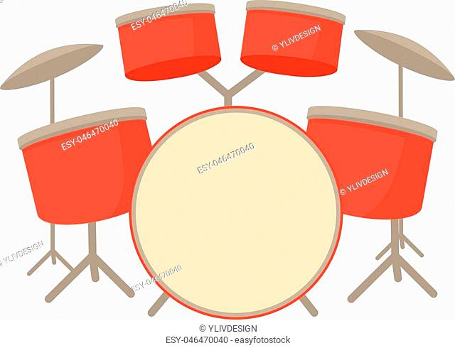 Drum set icon. Cartoon illustration of drum set vector icon for web