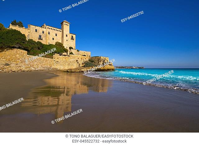 Cala La Jovera beach under Tamarit castle in Tarragona of Catalonia