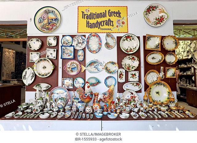 A souvenir shop for ceramics, Lindos, Rhodes, Dodecanese, Greece, Southern Europe, Europa