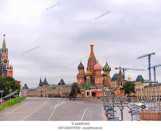 Saint Basil's Resurrection Cathedral tops on the Moscow Russia. Red Square