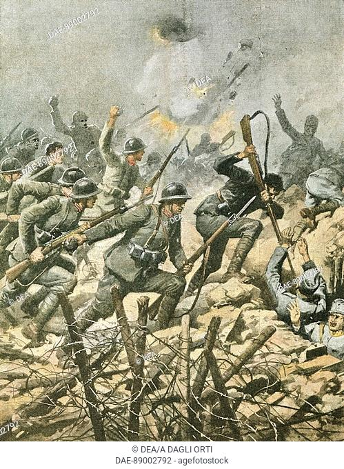 Assault on Mount Ortigara. By Achille Beltrame (1871-1945), illustration from La Domenica del Corriere