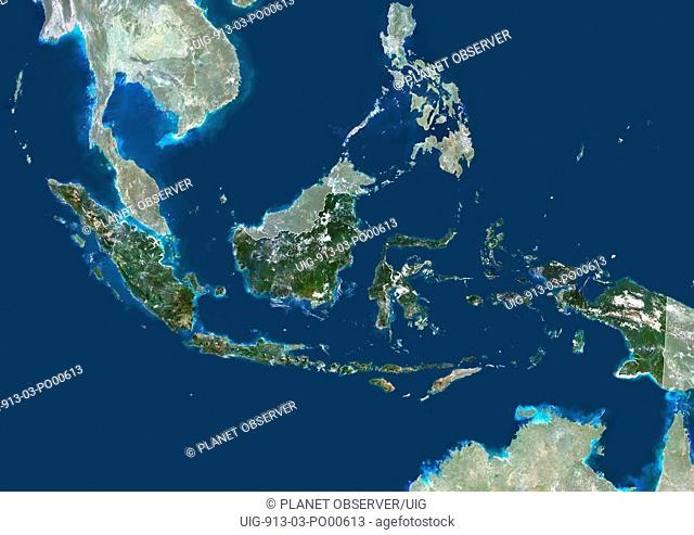 Indonesia, Asia, True Colour Satellite Image With Border And Mask. Satellite view of Indonesia with border and mask. This image was compiled from data acquired...