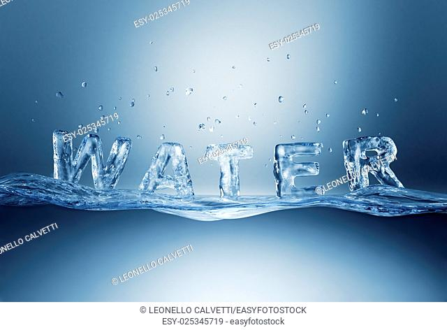 Water lettering on water wave. Photorealistic 3 D rendering
