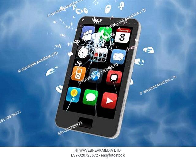 Smartphone in water being broken on blue background