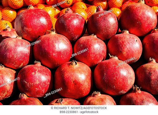 Fresh Produce pomegranates in Tel Aviv's Carmel Market
