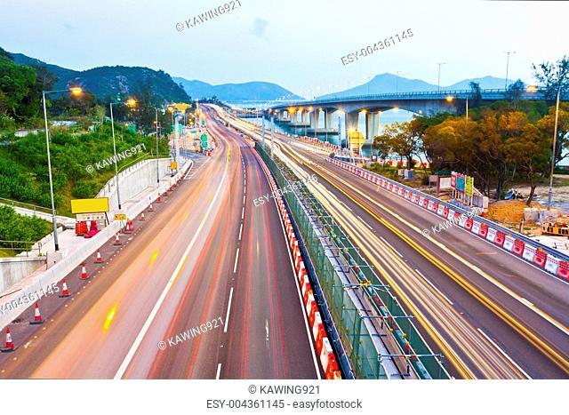 Traffic in Hong Kong at highway