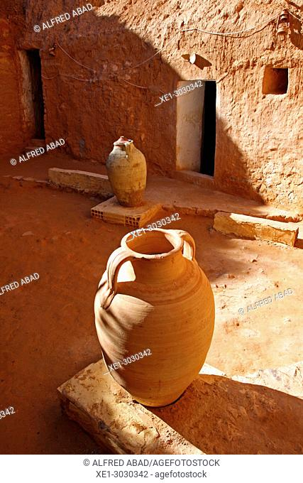 ceramic jars, troglodyte houses, traditional Berber constructions, Matmata, Tunisia