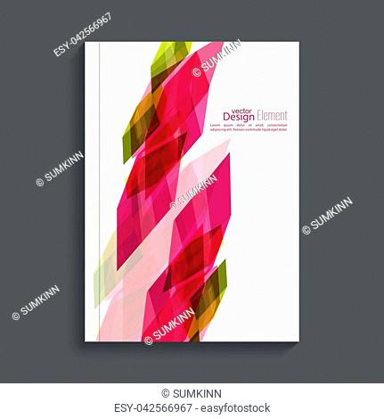 Magazine Cover with colored crystals, trellis structure. For book, brochure, flyer, poster, booklet, leaflet, postcard flier headline annual report journal...