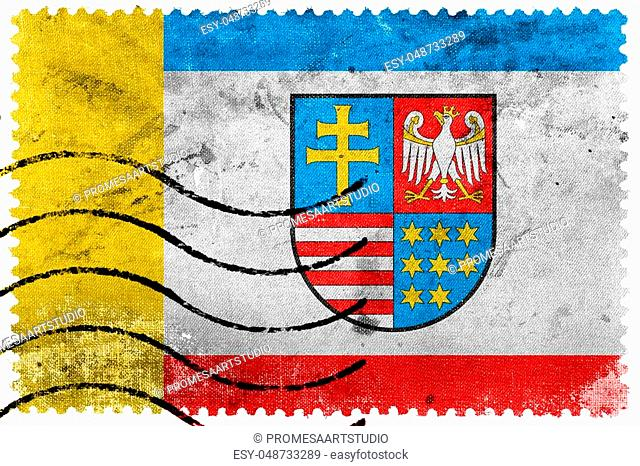 Flag of Swietokrzyskie Voivodeship, Poland, old postage stamp