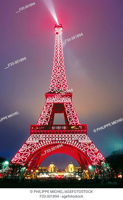 Eiffel Tower in the Chinese New Year. Paris. France