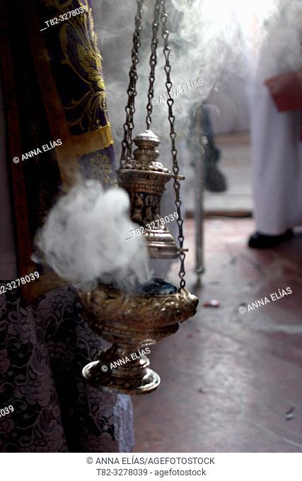 Semana Santa en Jerez(Cadiz). La cofradia del desprendimiento que sale los miercoles santo del Templo Parroquial de Santiago