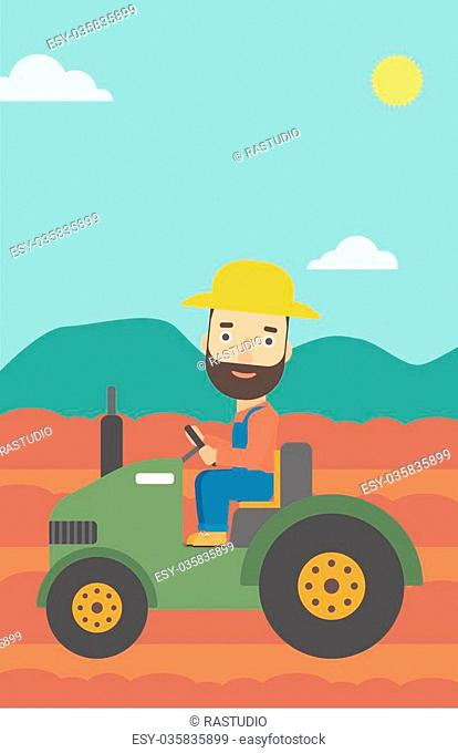 A hipster man with the beard driving a tractor on the background of plowed agricultural field vector flat design illustration. Vertical layout