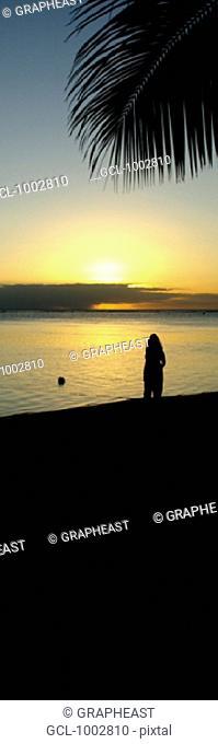 Woman watching sunset in Mauritius
