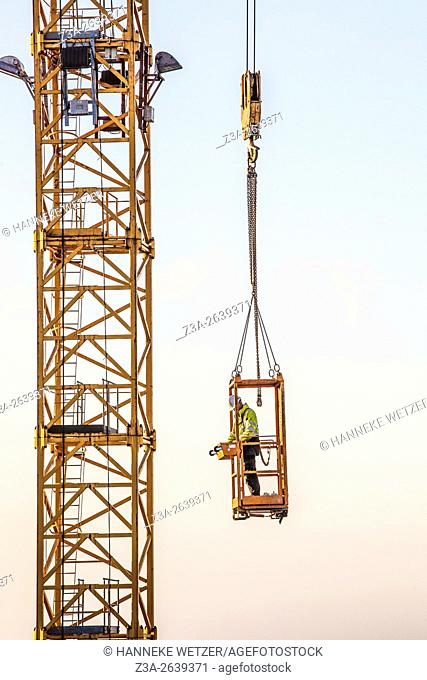 Man working at a construction site, Eindhoven, the Netherlands,