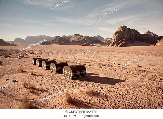 Desert camp at Wadi Rum, beduin style, Jordan, Middle East, Asia