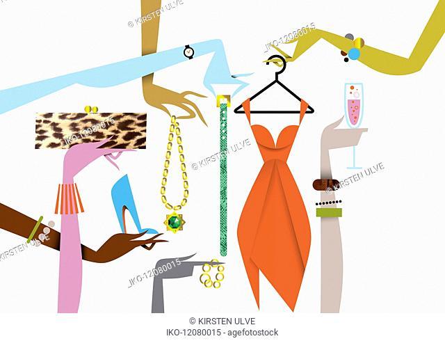 Elegant female hands holding luxury fashion accessories