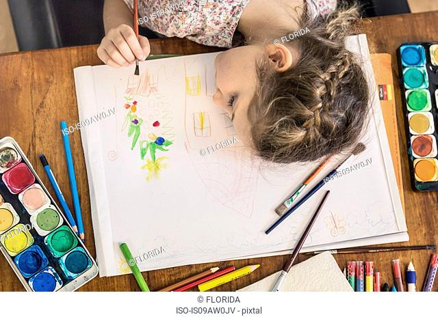 Overhead view of girl painting at kitchen table