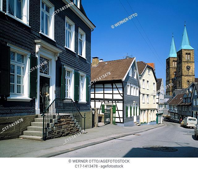 Germany, Schwelm, Ennepe-Ruhr district, Ruhr area, Bergisches Land, Westphalia, North Rhine-Westphalia, NRW, old town, residential buildings