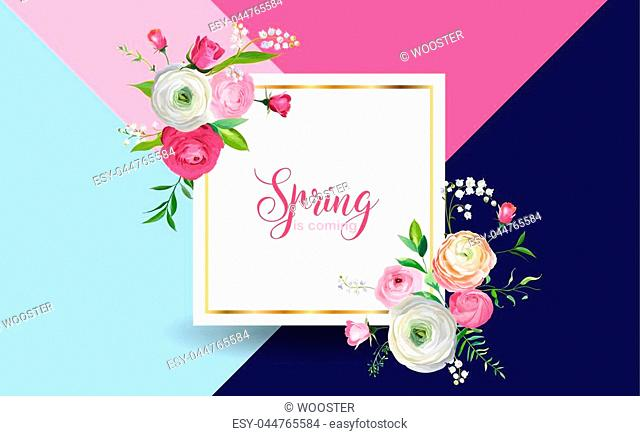 Hello Spring Floral Design with Blooming Pink Flowers. Botanical Springtime Background for Decoration, Poster, Banner, Voucher, Sale