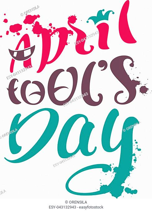 April fools day text for greeting card. Isolated on white vector cartoon illustration