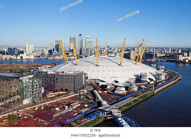 England, London, O2 Arena and Docklands Skyline