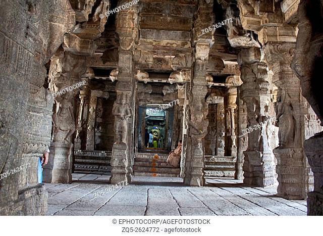 Lord Veerbhadra shrine , 100 pillared dance Hall, with Intricately sculpted pillars ,Veerabhadra Swamy Temple, Lepakshi, Andhra Pradesh, India