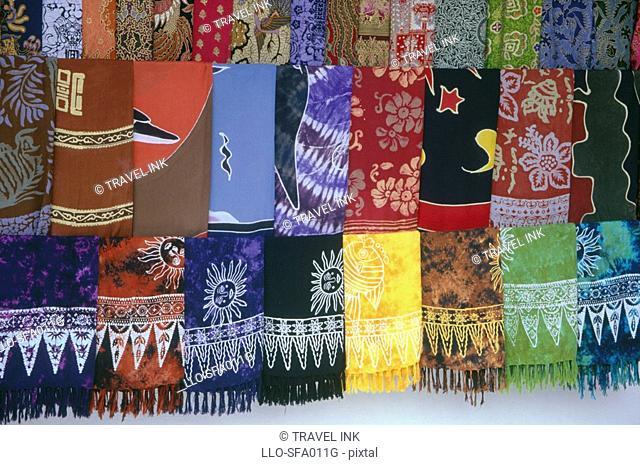 Batik Printing Fabric Display  Candi Kuning, Bali, Indonesia