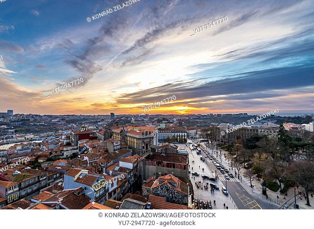 Aerial view from Clerigos bell tower with Portuguese Centre of Photography and Sao Bento Monastery in Porto, Portugal. Gaia city on abckground