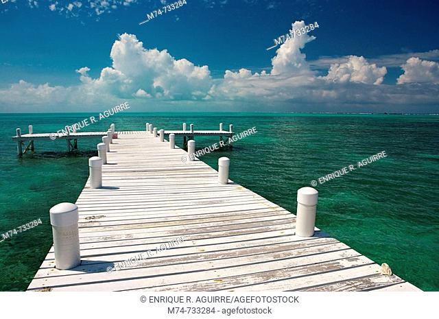 Tropical fishing dock, Belize
