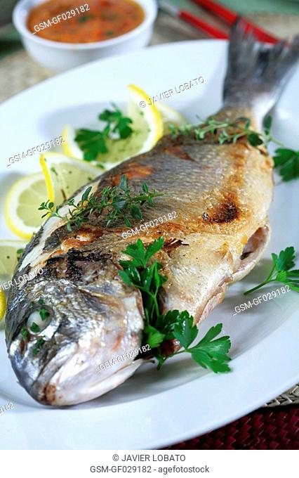 Gilthead bream with aromatic herbs sauce