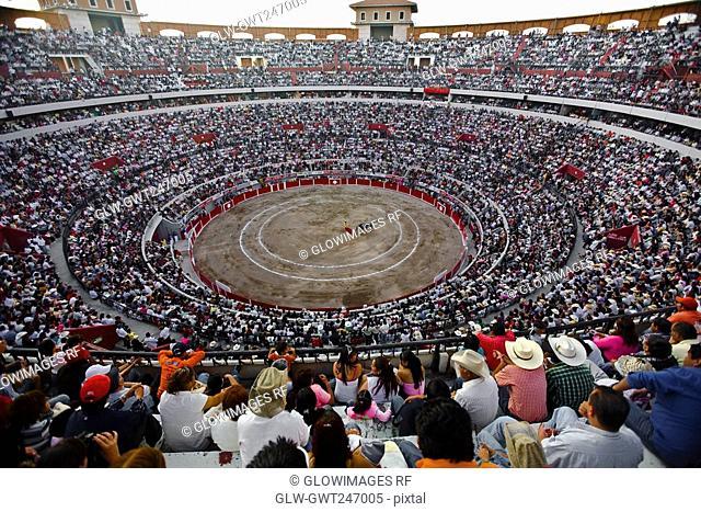Spectators watching a bullfight in a bullring, Plaza De Toros San Marcos, Aguascalientes, Mexico