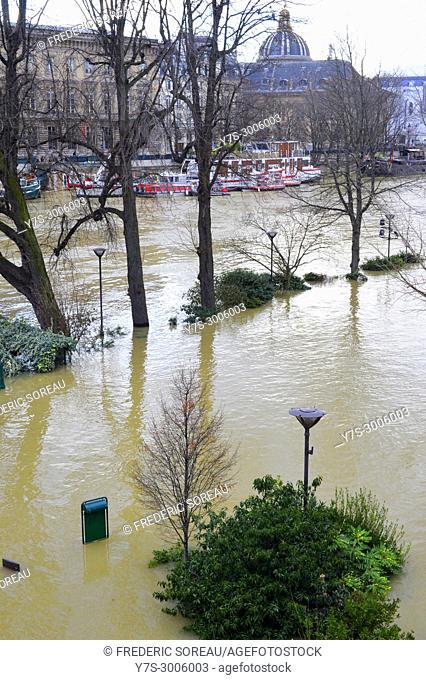 Flood of the Seine river,Square du Vert-Galant, Paris,,January 26 , 2018,France,Europe