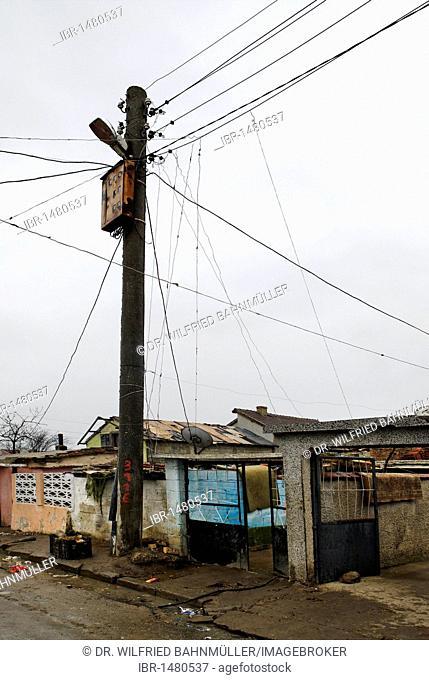 Electricity burglary, ghetto, Romani, Roma quater, Valdislavovo, Varna, Bulgary, Europe