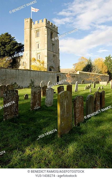 Pope's tower Stanton Harcourt manor from the graveyard of St Michael's church, Stanton Harcourt, Oxfordshire, England