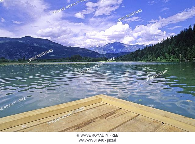 One Mile Lake, near Pemberton, BC with dock in foreground