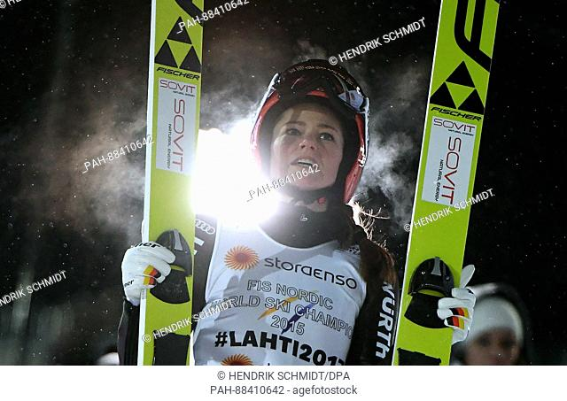 German athlete Carina Vogt celebrates winning gold after completing a jump at the FIS Nordic World Ski Championships 2017 in Lahti, Finland, 24 February 2017
