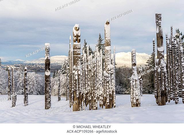 Playground of the Gods, Ainu totems, (Kushiro Park) winter, Burnaby Mountain Centennial Park, Burnaby, British Columbia, Canada