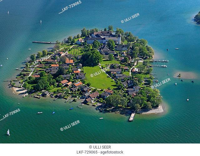 Aerial shot of Fraueninsel, lake Chiemsee, Bavaria, Germany