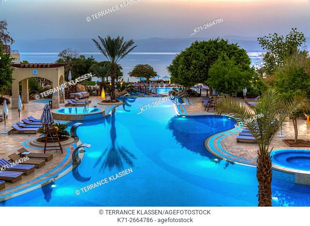The Marriott Hotel resort at sunset on the Dead Sea, Hashemite Kingdom of Jordan, Middle East