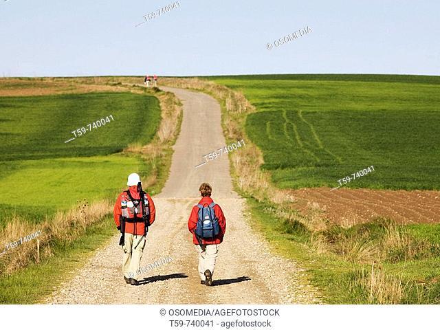 Pilgrims on the Way of St. James, Santo Domingo de la Calzada. La Rioja, Spain