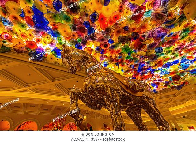Hotel Casino Bellagio- Interior of the Lobby featuring mosaic horse and floral sculpture 'Fiori de Como' by Dale Chihuly, Las Vegas, Nevada, USA