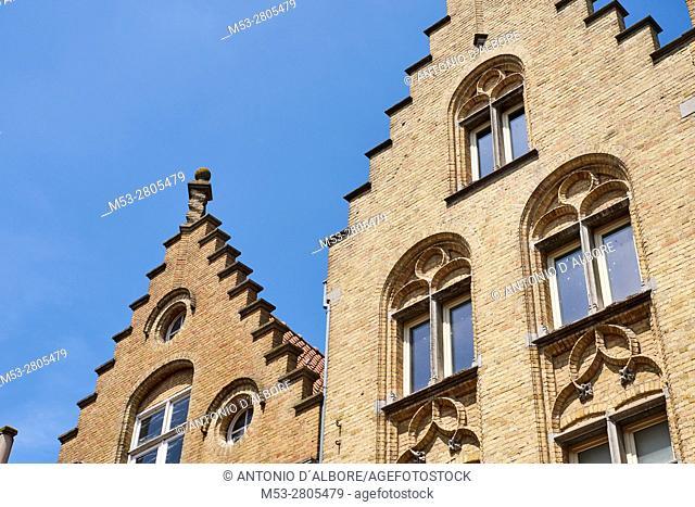 Belgian style homes in Ypres. West Flanders. Belgium