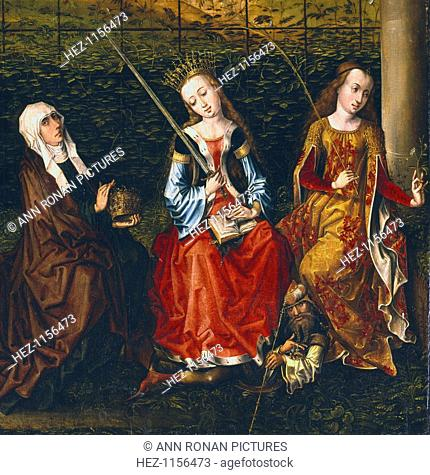 St Elizabeth of Hungary, St Catherine of Alexandria and St Rosalie of Padua, 1470-1500. Left to right: St Elizabeth of Hungary (1207-1231); St Catherine of...