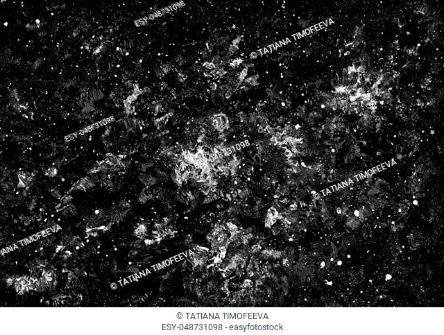 Abstract background black and white with space texture. Background with stars, planets and galaxies