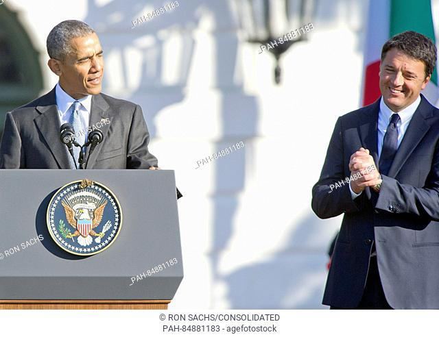 United States President Barack Obama makes remarks during an arrival ceremony at the start of an Official Visit in honor of Prime Minister Matteo Renzi and Mrs