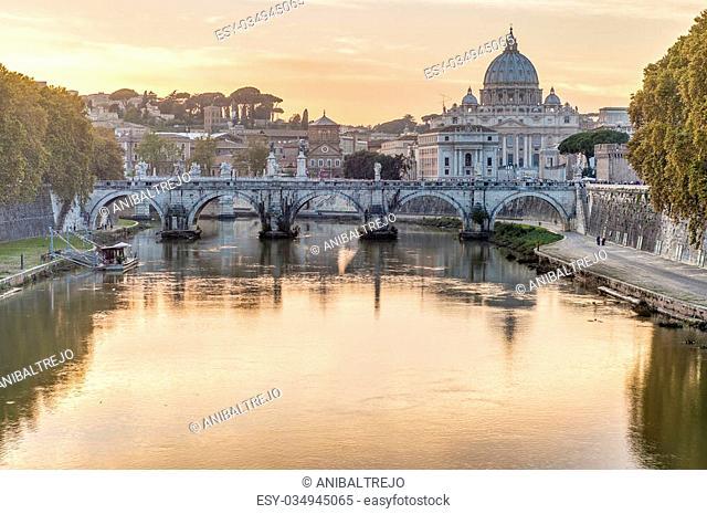 Ponte Sant'Angelo, once the Aelian Bridge or Pons Aelius (Bridge of Hadrian) in Rome, Italy